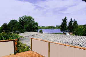 Blick von der Dachterrasse auf den Demener Dorfsee